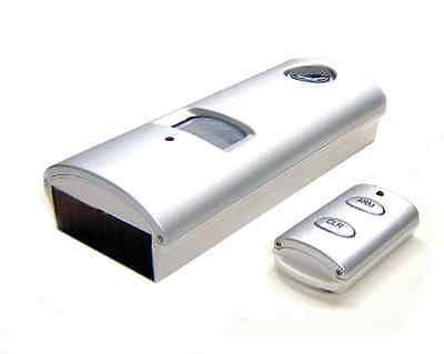 Wireless Motion Sensor Alarm - Solar Powered + IR Remote + 130dB Siren