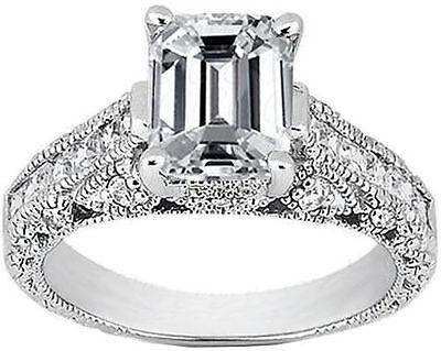 1.63 ct Emerald cut, Round & Princess Diamond 14k White Gold Ring D SI2 GIA #603