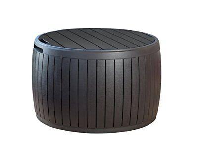 Keter 37 Gallon Circa Natural Wood Style Round Outdoor Stora