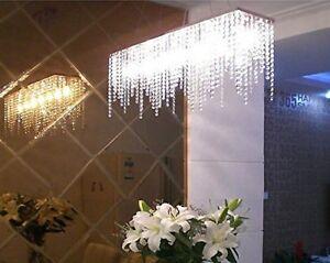 7PM Modern Linear Rectangular Dining Room Crystal Chandelier Lighting L32
