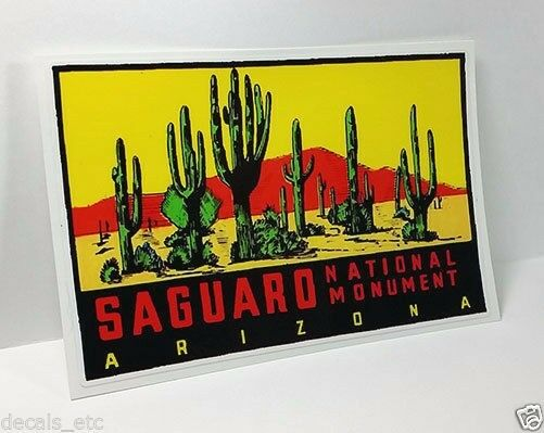 SAGUARO National Park Vintage Style Travel Decal / Vinyl Sticker, Luggage Label