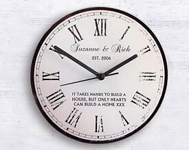 Personalised Rustic Message Glass Clock (NEW)
