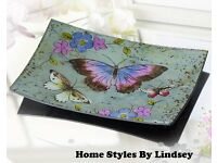 Lavender Butterfly Glass Plate