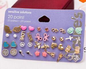 20 Pairs Claires Fashion Accessories Stud Earrings Heart Cross Ear Rings BNIB