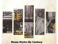 Set of 5 LED New York Canvasses