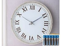 Diamante Sparkle Wall Clock + AA Batteries (6 Pack)