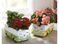 Yellow and green planters camper van style