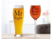 Always Right pint & wine glass