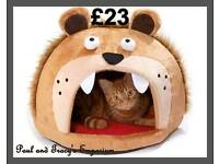 Lions head cat bed