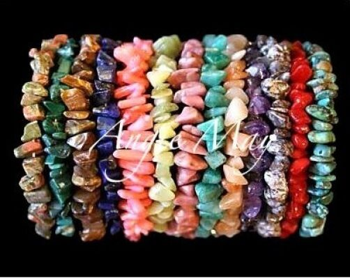 Wholesale Lot of 10 GEMSTONE Chip Crystal Healing Stretch Bracelets 7 inches
