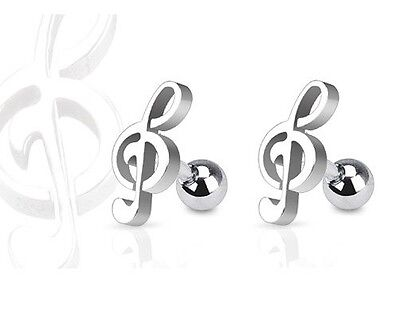 2pc Treble Clef MUSIC NOTE Stud Tragus CARTILAGE Helix Ear Ring Piercing Jewelry