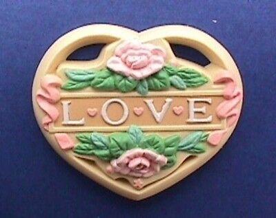 Enesco PIN Valentines Vintage HEART LOVE Water Lilies Morgan Holiday Brooch
