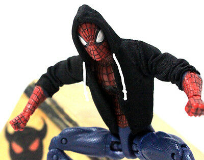 "NOX-ST: FIGLot 1/12 black fabric hoodie for 6"" Marvel Spiderman (No Figure)"