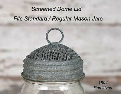 Screened DOME Lid for Regular/Standard Mason Jars ~ Barn Roof Finish