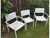 3x Art Deco Antique White Heavy Metal Garden Chairs Vintage Bundle Set