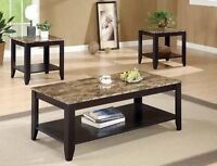 SALE 30% OFF- BRAND NEW FAUX MARBLIOLIZED TOP COFFEE TABLE SET
