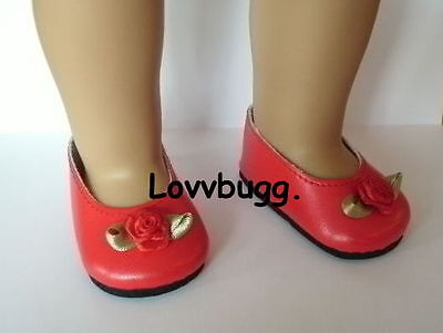 "Lovvbugg Red Rose Flats for 15"" - 18"" American Girl n Bitty Baby Doll Shoes"
