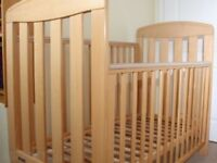 Mamas & papas pine cot hardly used !! Comes with mamas breath easy mattress like new !!