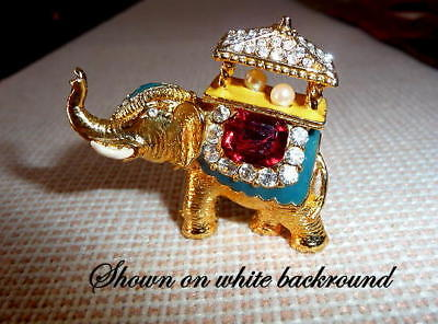 Royal Danish Jeweled and enameled ELEPHANT Pin Brooch & presentation case for sale  Highlands
