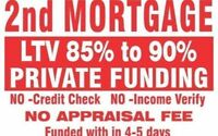 2ND 3RD MORTGAGE UPTO 90% LTV NO APPRAISAL NO CREDIT CHECK