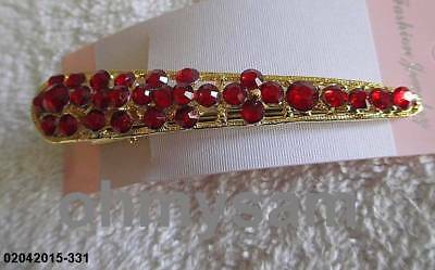 "1 NEW GOLD COLOR METAL PELICAN BEAK HAIR CLIP COMB / RED COLOR STONE / 3 "" LONG for sale  Shipping to India"