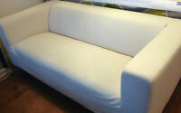 KLIPPAN Loveseat with Canvas Cover in Natural $120