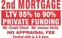 2ND MORTGAGES UPTO 95% LTV NO APPRAISAL APPROVAL IN 24 HRS