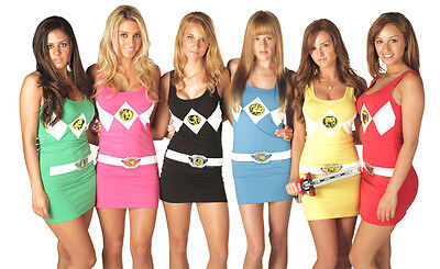 Juniors The Power Rangers Sexy Costume Tank Dresses with Socks](Power Rangers Womens Costume)