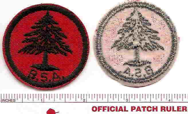 Vintage Red Twill Patrol Patch  -  Pine Tree - 1950s Era - Gum Back
