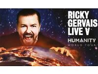 2 x Ricky Gervais Humanity Tickets. Saturday 7th October