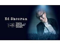 2 Ed Sheeran Standing tickets for the o2 tenth anniversary show