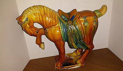 Vintage Majolica Chinese? Tang War Horse WOW! Gorgeous Old Statue/Sculpture