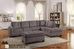 New Reversible Sectional in a Taupe Fabric