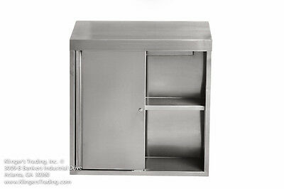 15x60x39h Stainless Steel Wall Cabinet With Locking Sliding Doors