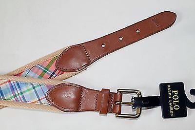 Ralph Lauren Polo Men's Orange Madras Plaid Leather Cotton Belt Sz 32 34 $85 NWT (Cotton Plaid Belt)