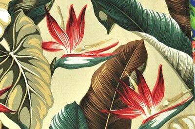 Tropical Hawaiian 100% Cotton Barkcloth Upholstery FABRIC ~Bird of Paradise~