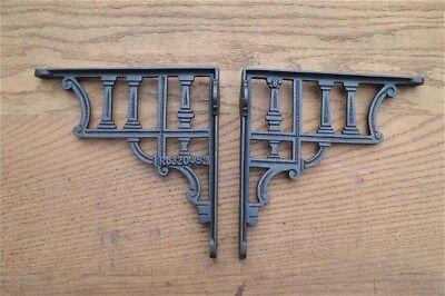 A pair of antique classical column cast iron shelf brackets cistern bracket AL75