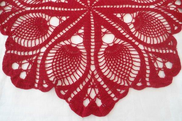 Vintage Fine Pineapple Crochet Lace Center Doily Red Christmas 23""