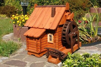 Beautiful Large Water Mill Wooden in Blockhausstil XXL, Garden, Pond