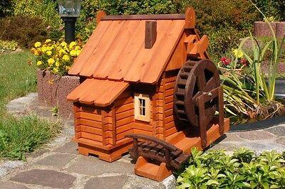 Wunderschöne große Wassermühle aus Holz im blockhausstil XXL, Garten, Teich