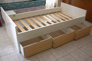 Single Ikea captains bed with clean mattress