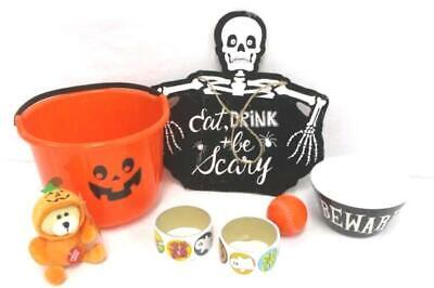 Mixed Lot Halloween Decorations Bucket Talking Bear Pal Bowl Stickers Sign Ball