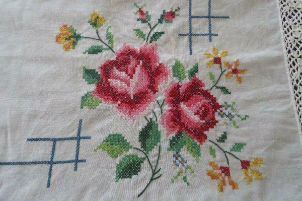 Vintage Banquet Tablecloth Embroidered Pink Roses Crochet Lace Unused 130""