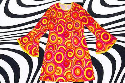 100✪ groovy Psychedelic Hippie Trompetenärmel Kleid Kostüm 60er 70er Jahre