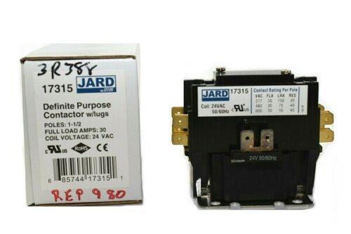 Jard 17315 Definite Purpose Contactor 1-1/2 Pole 30 Amp 24VAC
