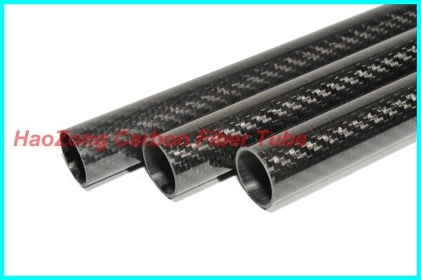 2pcs 45mm ODX 41mm IDX 500mm 100% Roll Wrapped Carbon Fiber Tube 3K /Tubin 45*41