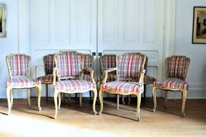 Antique Vintage Set of 8 French Country Dining Chairs