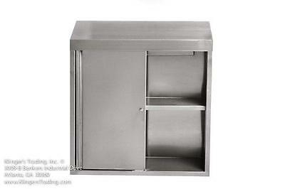 15x36x39h Stainless Steel Wall Cabinet With Locking Sliding Doors