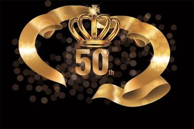 8x6Ft Backdrop 50 Th Golden Birthday Party Theme Background Studio Props (50th Birthday Party Themes)