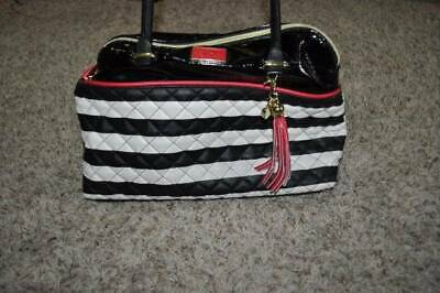 Womens Betsey Johnson Black White Striped Quilted Leather Satchel Handbag Purse